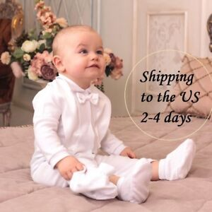 533002bbb624 Image is loading Boys-Baptism-Outfit-Baby-Christening-Suit-Toddler-White-