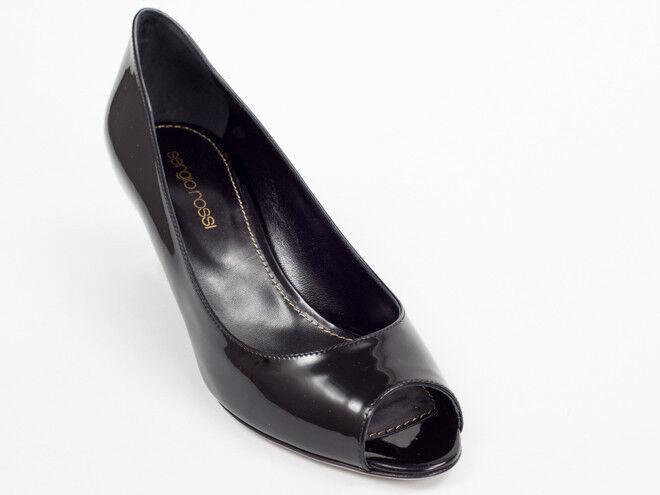Neu Sergio Rossi Schwarz Lackleder Schuhe Größe 36.5 US 6.5
