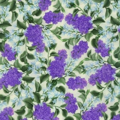 Fat Quarter Lazy Lilacs Flowers Floral Ivory Printed Cotton Quilting Fabric