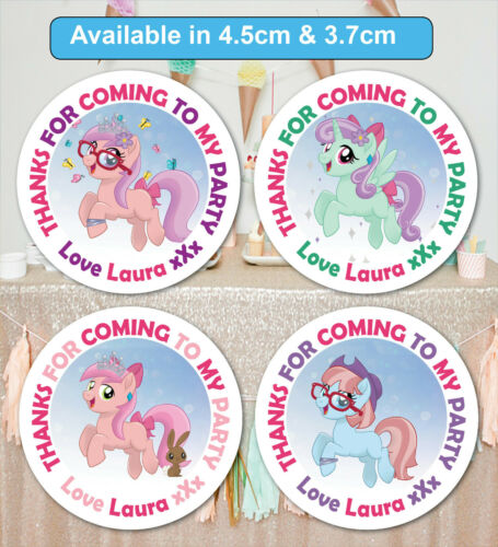 Personalised Birthday Party Bag Stickers Sweet cone Labels Pony MATT Lot 24 /& 35