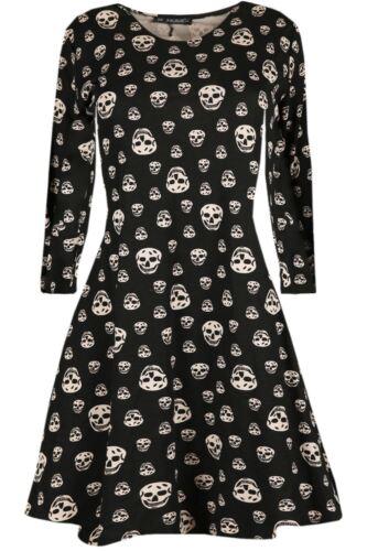 Womens Smock Vampire Horror Blood Ladies Halloween Fancy Party Swing Mini Dress