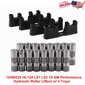 New-12499225-HL124-LS7-LS2-16-GM-Performance-Hydraulic-Roller-Lifters-w-4-Trays