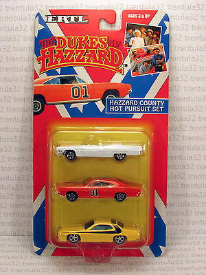 General Lee THE DUKES OF HAZZARD County Hot Pursuit Set 3-Car 1:64 DieCast ERTL
