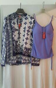 new concept da44c 5f394 Dettagli su Completo YAMAMAY Donna Mare Camicione Kaftano M/L + Top Costume  tg3 fantasia blu
