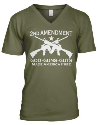 2nd Amendment God Guns Guts Made America Free Right Worship Men/'s V-Neck T-Shirt