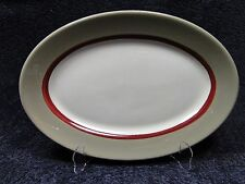 Sterling China Oval Platter Vitrified Taupe Maroon Restaurant Ware