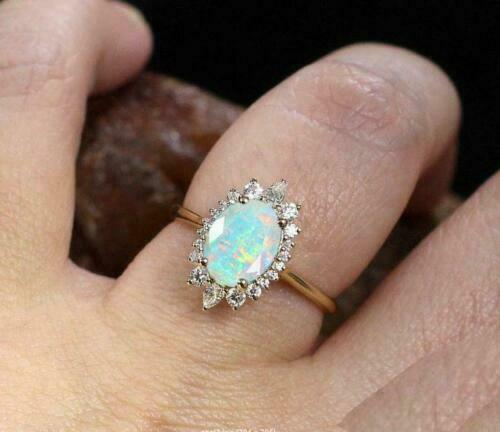 Details about  /2.50Ct Oval Cut Fire Opal /& Diamond Vintage Wedding Ring 14K Yellow Gold Finish