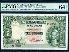 New Zealand:P-161d,10 Pounds 1967 * James Cook * PMG Ch. UNC 64 Net *
