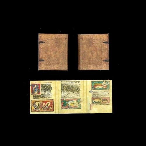 Dollhouse Mini Book Based on Medieval English Bestiary Miniatures for Doll House