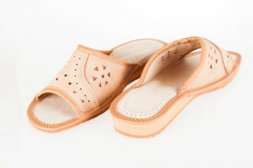 flop Mules Ladies Brown Sandals Slipper Natural 100 Flip Leather Womens xp0qU77