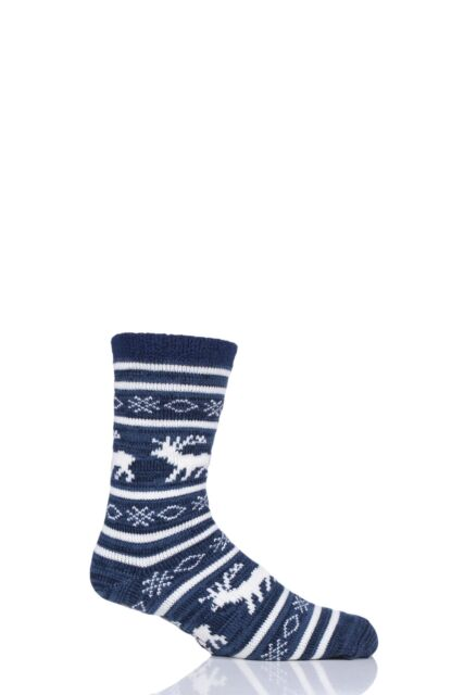 9952ac2abb3 Totes Men Navy Reindeer Embroidered SLIPPER Socks One Size for sale ...
