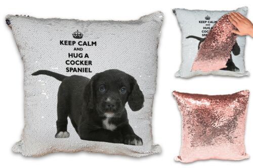 Keep Calm And Hug A Sequin Reveal Cushion-Rose W//Insert Various//Pet