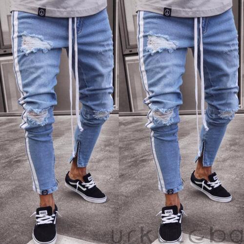 New Mens Skinny Jeans Rip Slim fit Stretch Denim Distress Frayed Biker Jeans Boy