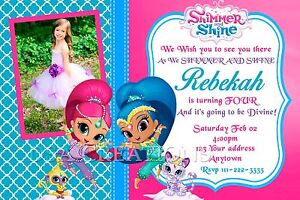 shimmer and shine birthday party invitations personalized custom, Party invitations
