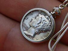 "Necklace Pendant Vintage silver Mercury dime coins 925 sterling silver chain 18"""