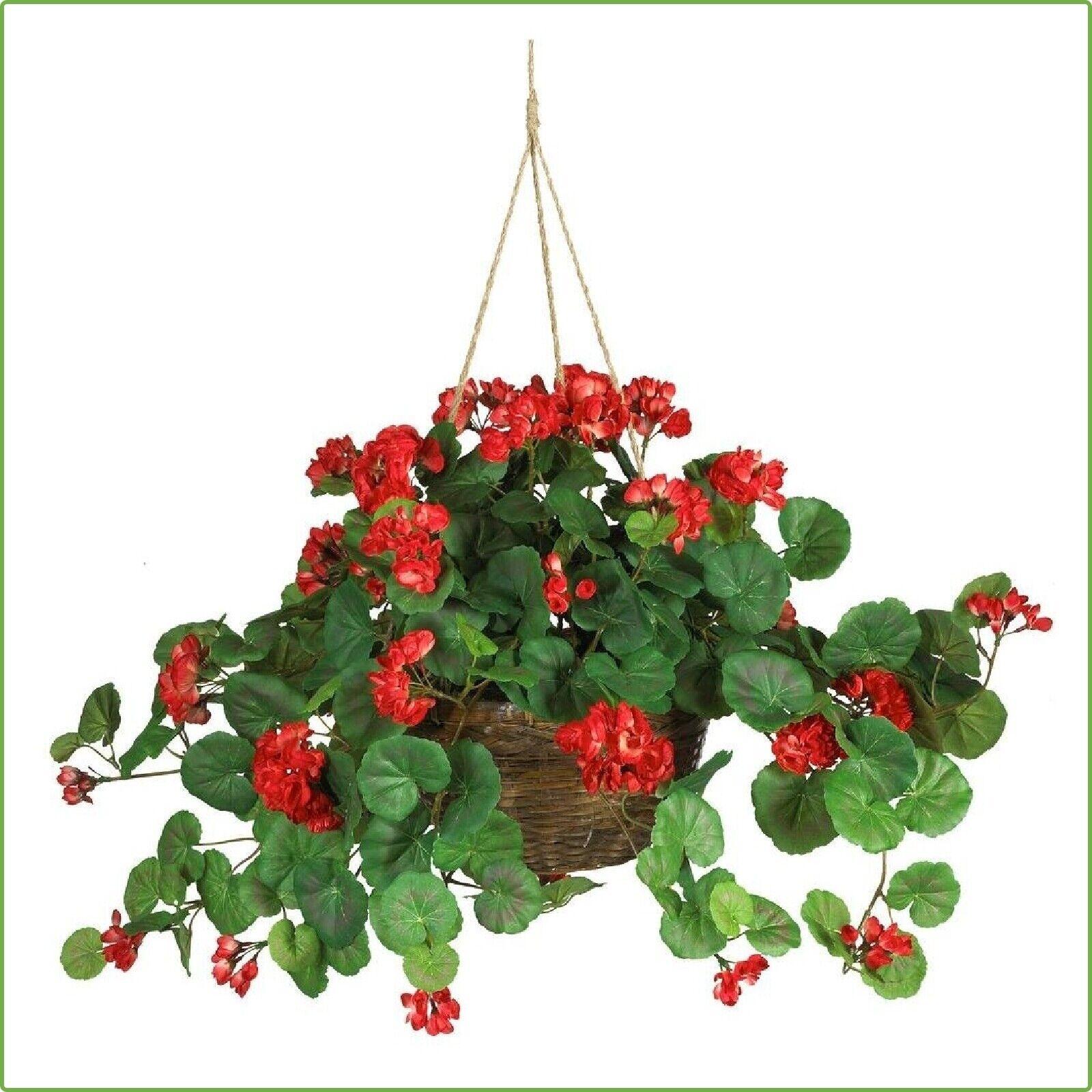 24 In Geranium Silk Hanging Basket Decorative Artificial Fake Plant Flower Pot