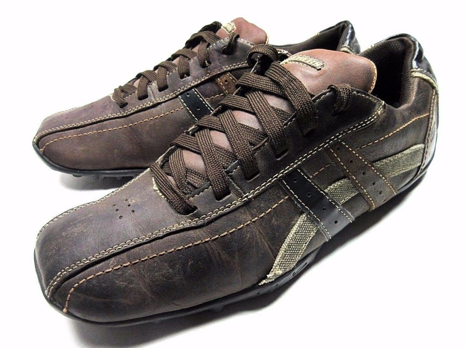 SKECHERS SNEAKERS SIZE 11 BROWN DISTRESSED LEATHER LACE UP MENS SHOES
