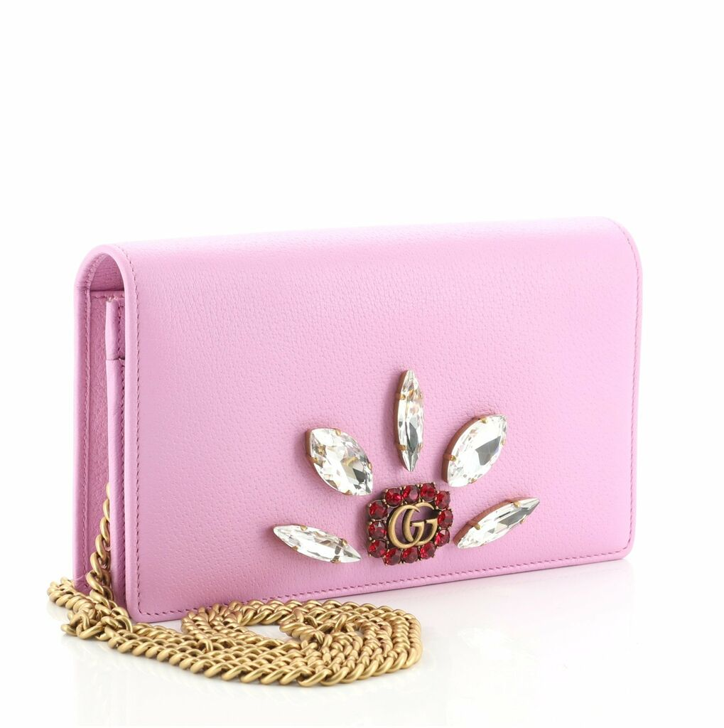 Gucci GG Marmont Chain Wallet Embellished Leather Mini    eBay