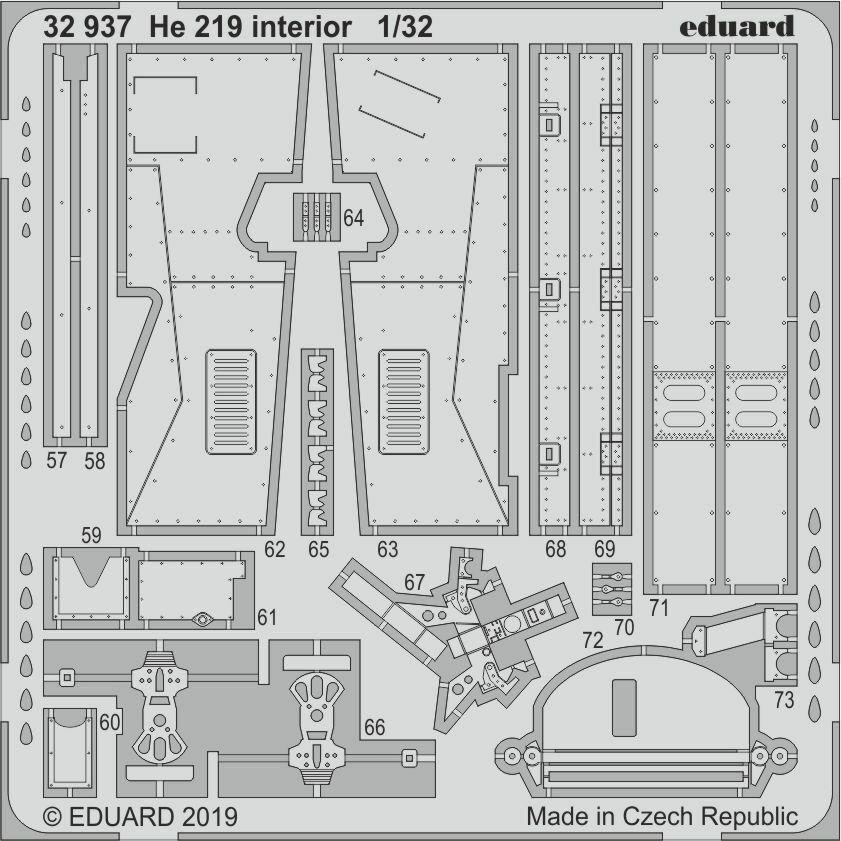 Eduard 1 32 Heinkel He-219a-7 ' Uhu Uhu Uhu ' Interiore 19b072