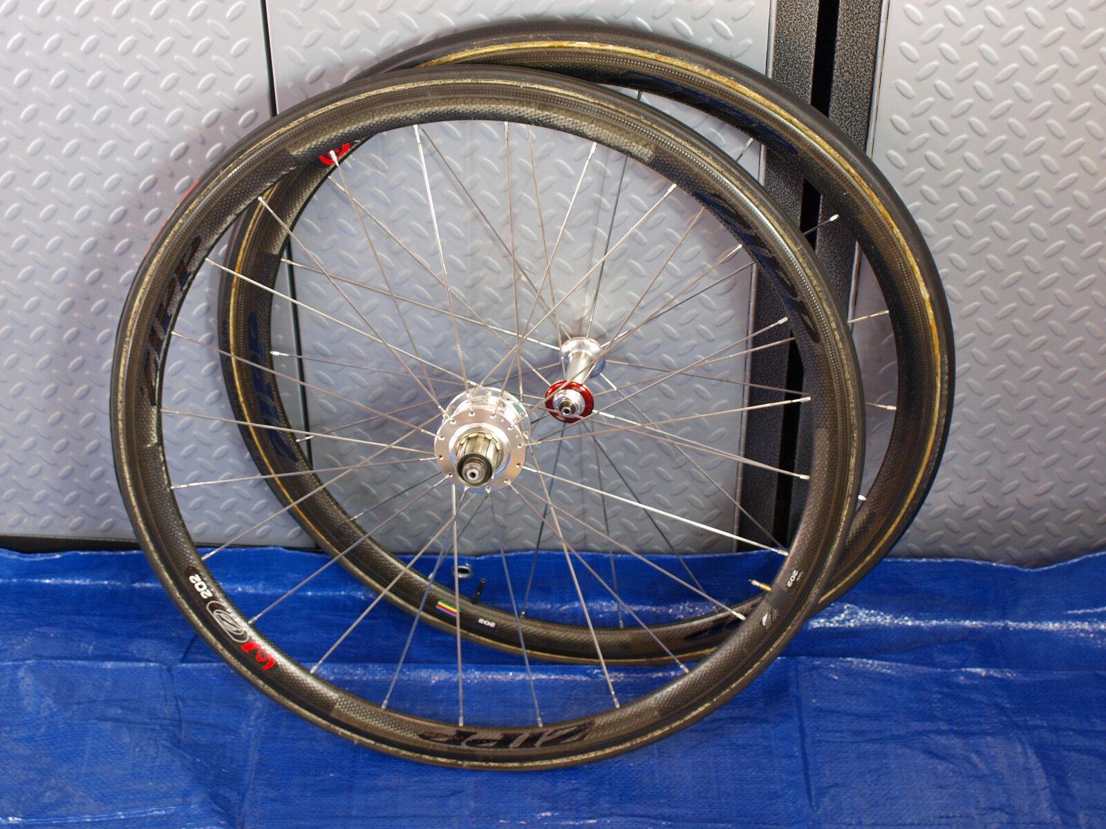 Zipp 202 Firecrest Carbon Tubular Wheelset 700c 10 11 Spd. W CycleOps Powertap