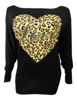 NEW LADIES OFF SHOULDER LEOPARD LOVE HEART PRINT WOMENS BATWING TOP SIZE 8-16