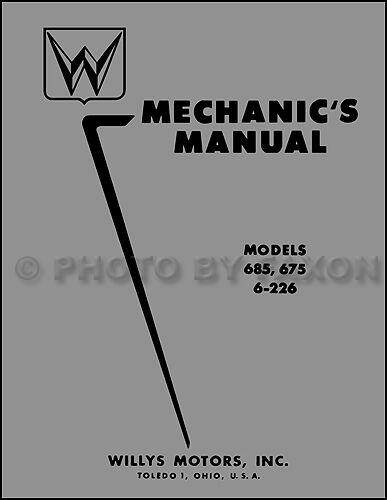1952 1953 1954 1955 Willys Riparazione Auto Manuale Di Negozio Aero Lark Ala Ace