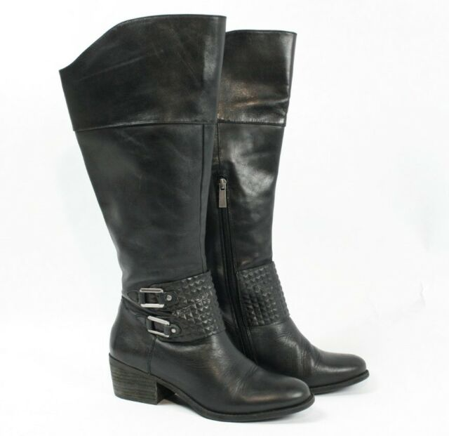 1c74cef37ee VINCE CAMUTO Bartina Black Leather Knee High Riding Buckle Tall Boots Women  7 M