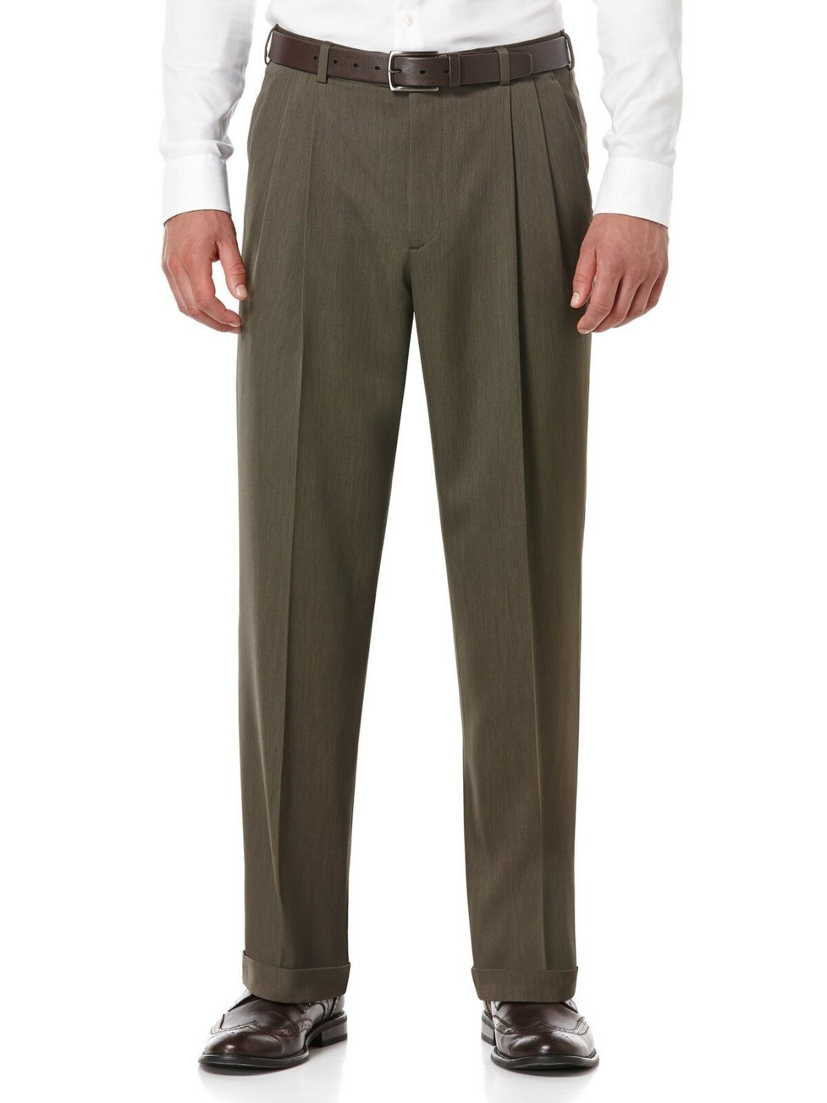 PERRY ELLIS PORTFOLIO men BROWN FIT PLEATED FRONT DRESS PANTS 32 W 32 L
