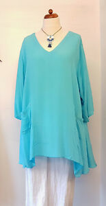 ANGEL-CIRCLE-A-LINE-TURQUOISE-CRINKLE-VISCOSE-TOP-V-NECK-3-4-SLEEVES-POCKETS-NWT