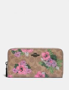 COACH-Women-039-s-Accordion-Zip-Wallet-In-Signature-Canvas-Flowers-Blossom-Pink-NEW