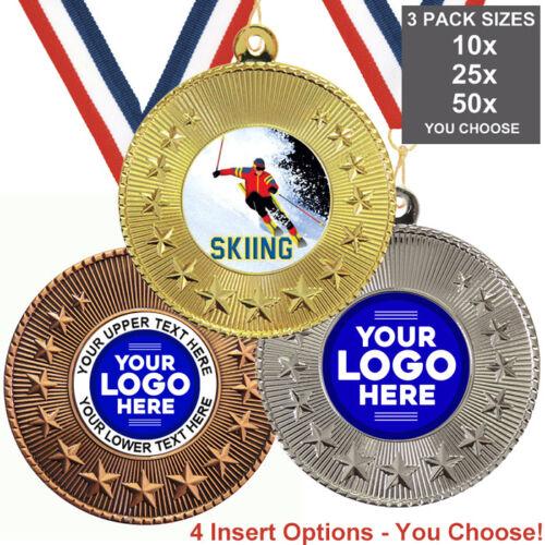 insère ou propre Logo /& Texte Ski Metal médailles 50 mm rubans pack de 10