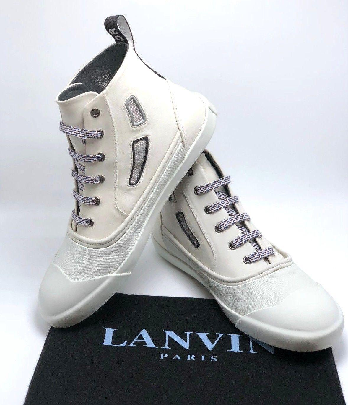 Scarpe casual da uomo  0 LANVIN Vulcanized Calfskin Mid-Top Sneaker Aged White Sz.7
