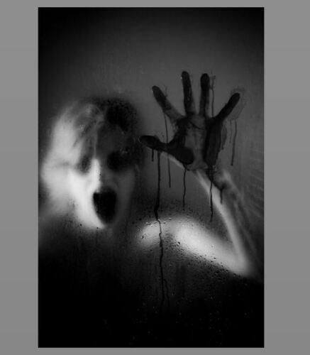 Scary Bloody Hand PHOTO Shocking Spooky Woman Girl Window Dripping Halloween