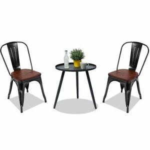 Details About 2 Set House Kitchen Tolix Style Dining Seat Birstro Side Chair Stackable Black