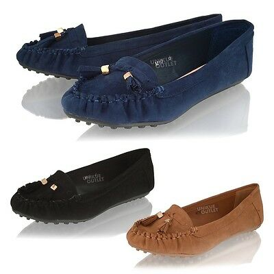 Damen troddel slipper ballet dolly schule mokassin office pumps schuhe