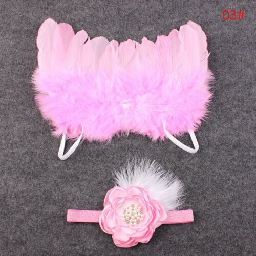Newborn Baby Girl Boy Headband Angel Wings Costume Photo Photography Prop Outfit