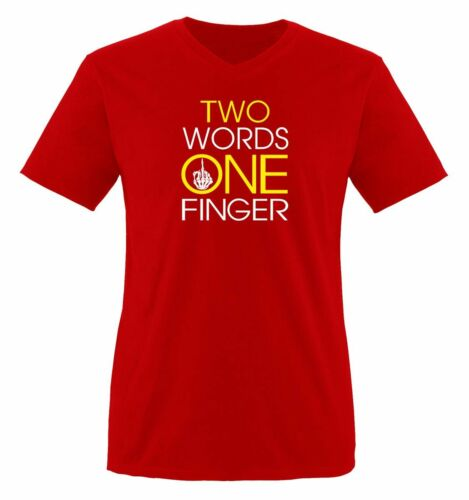 Comedy Shirts-Two Words One Doigt-Messieurs V-Neck T-ShirtbordeI You New