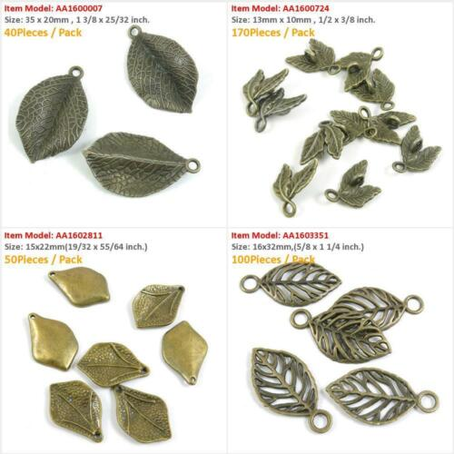 Antique Bronze Tone Jewelry Charms Leaf Leaves Connector Crafting Craft Making