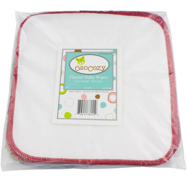 OsoCozy Flannel Cloth Baby Wipes - 15 Pack