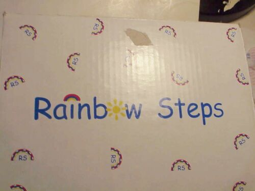 RAINBOW STEPS GIRL/' SHOES SIZE 8   NEW   MULTI-COLORED DAISY TRIM ON CREAM