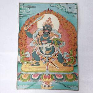 36-034-Tibet-Tibetan-Cloth-Silk-Black-Wenshu-Manjushri-Tangka-Thangka-Mural-Painting