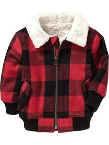 New Old Navy Red Buffalo Plaid Sherpa Pile Lined Bomber