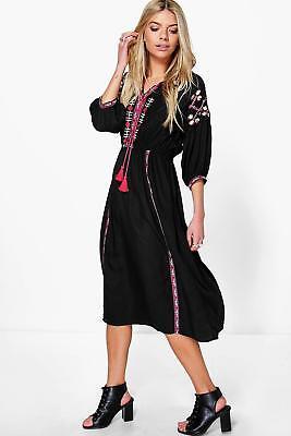 Boohoo Womens Delia Embroidered Tape Detail Midi Dress