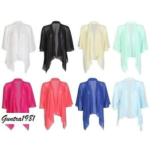 NEW WOMEN'S LADIES PLAIN CHIFFON KIMONO CARDIGAN SHRUG OPEN ...