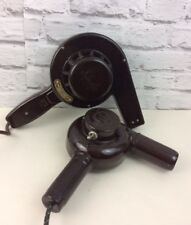 Pair Of Vintage 1940's Brown Bakelite Hair Dryers.