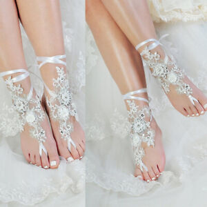 Beaded-Rhinestones-Wedding-Bridal-Accessories-Lace-Anklet-Foot-Chain-White-Ivory