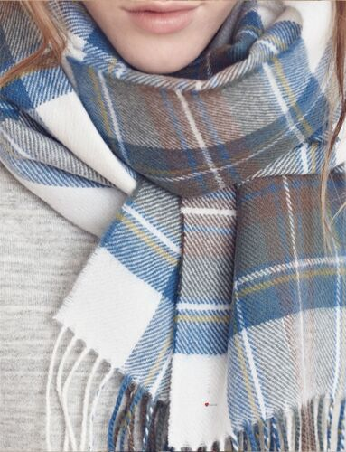 Ladies Shawl Lambswool Stewart Blue Dress Tartan 70 x 180 cm