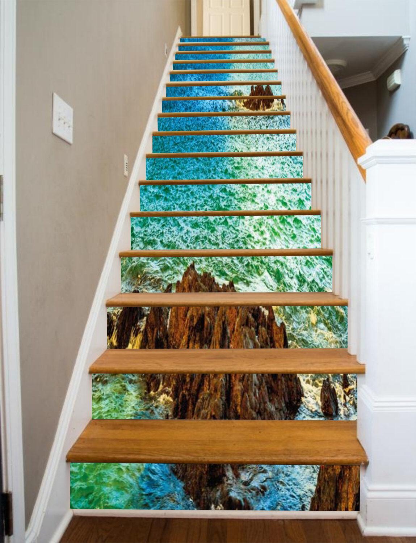 3D Blau Ozean 6 Stair Risers Dekoration Fototapete Vinyl Aufkleber Tapete DE