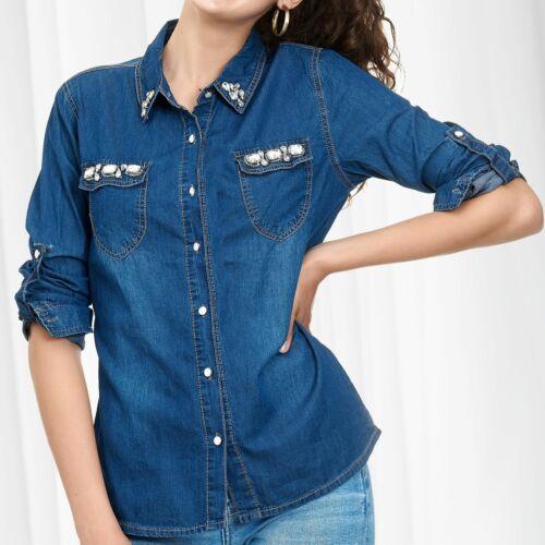 Chemise en jean pour femme Chemisier avec strass et pierres de paillettes denim