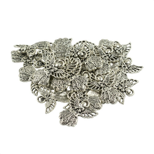 30pcs Antique Silver Handmad Angel Charms Jewelry Findings 26 x 24mm